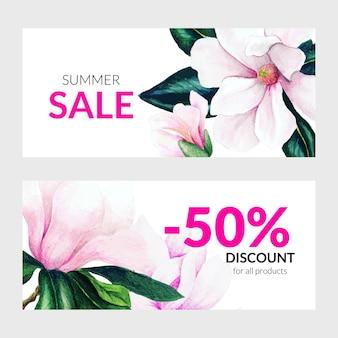 Conjunto de dois banners de verão com flores de magnólia rosa
