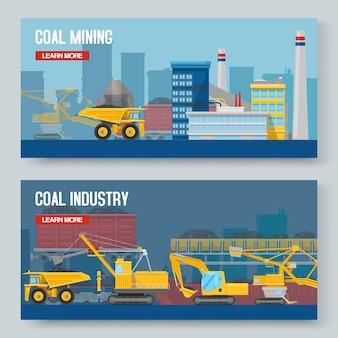 Conjunto de dois banners horizontais da indústria de mineração