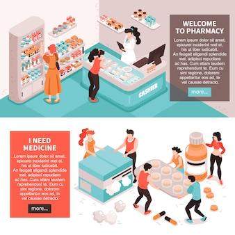Conjunto de dois banners horizontais de farmácia com imagens conceituais de caracteres humanos meds com mais ilustração de botão