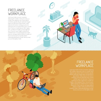 Conjunto de dois banners horizontais freelancer com local de trabalho interior doméstico e cenário ao ar livre com texto editável