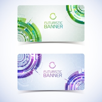 Conjunto de dois banners horizontais isolados de tecnologia virtual moderna com selos gradientes decorativos detalhados em círculos futuristas