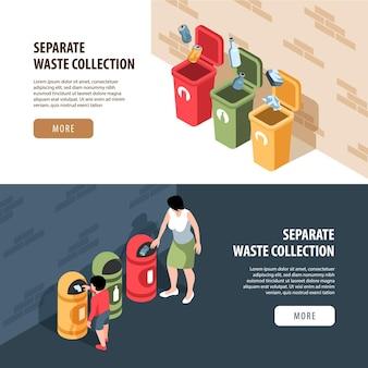 Conjunto de dois banners horizontais isométricos de reciclagem de resíduos de lixo com texto editável