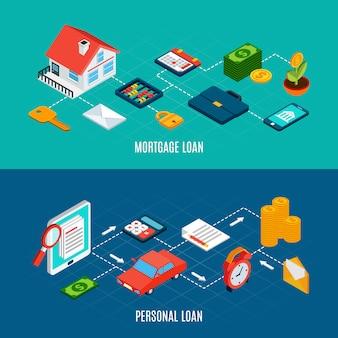 Conjunto de dois banners isométricos de empréstimos horizontais com documentos de propriedade privada e moedas de dinheiro