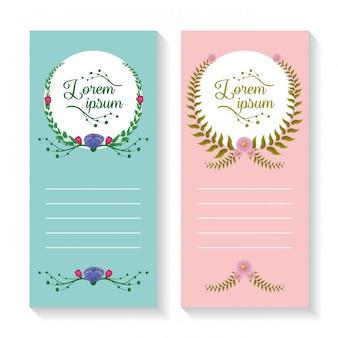 Conjunto de dois banners verticais com coroa de louros e ornamentos de folhagem, rosa e azul
