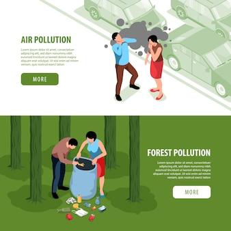 Conjunto de dois banners web com conceito de poluição ambiental isométrica e personagens