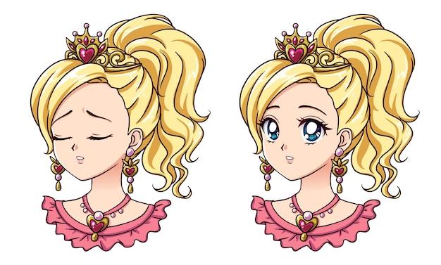 Conjunto de dois bonitos retratos de princesa de anime. duas expressões diferentes.