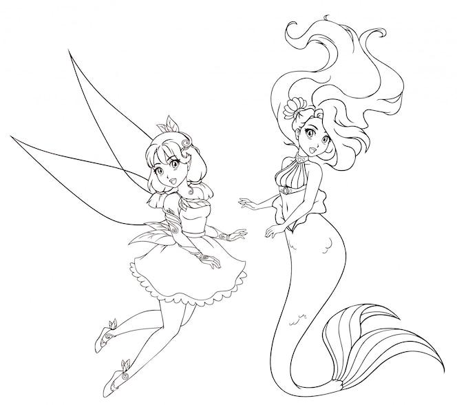 Conjunto de dois caracteres de estilo anime. sereia e fada. mão de ilustrações desenhadas sobre um fundo branco para colorir livro, tatuagem, cartão, modelo de t-shirt etc.