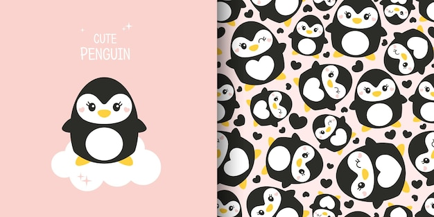 Conjunto de dois cartões bonitos. padrão sem emenda com pinguins. pinguins em um fundo rosa. cartão postal, pôster, roupas, tecido, papel de embrulho, têxteis.