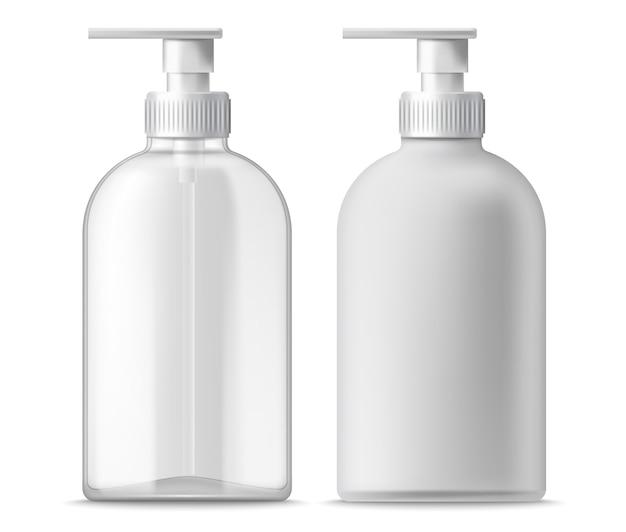 Conjunto de dois dispensadores transparentes e brancos. realista.