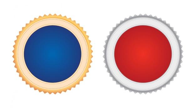 Conjunto de dois emblemas de medalha de prêmio de metal dourado e prata em formato de carimbo com espaço de cópia em vermelho e azul
