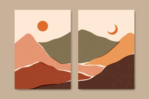 Conjunto de dois estética abstrata paisagem moderna de meados do século modelo de pôster boho contemporâneo