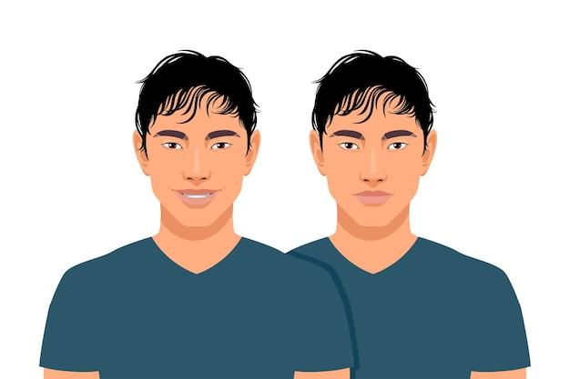 Conjunto de dois homens asiáticos. sorrindo e não isolado em um fundo branco.