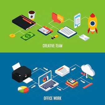 Conjunto de dois itens de espaço de trabalho de escritório isométrico de pessoas de negócios horizontal e ilustração vetorial de equipamento