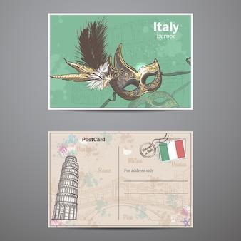 Conjunto de dois lados de um cartão postal com o tema itália