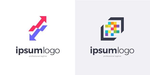 Conjunto de dois logotipos de flechas genéricas