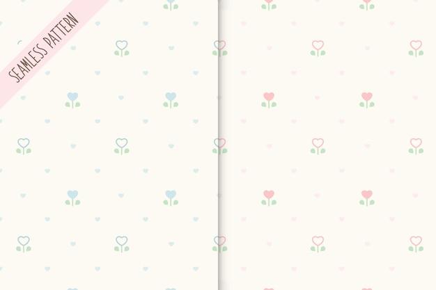 Conjunto de dois padrões florais fofos sem costura