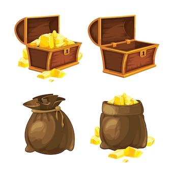Conjunto de dois sacos e baús com ouro. ilustração vetorial