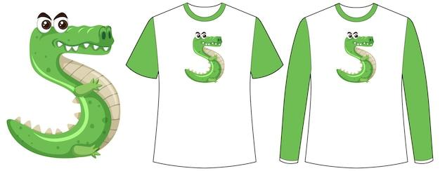 Conjunto de dois tipos de camisa com crocodilo na tela de formato número cinco em camisetas