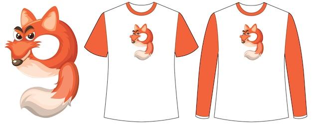 Conjunto de dois tipos de camisa com raposa na tela de formato número nove em camisetas
