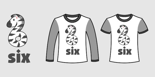 Conjunto de dois tipos de roupas com formato de zebra número seis em camisetas de vetor livre