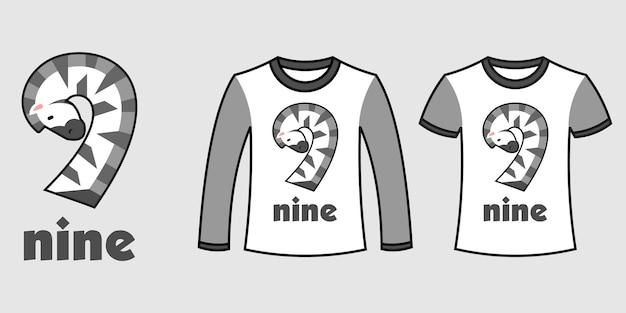 Conjunto de dois tipos de roupas com o número nove em formato de zebra em camisetas de vetor livre