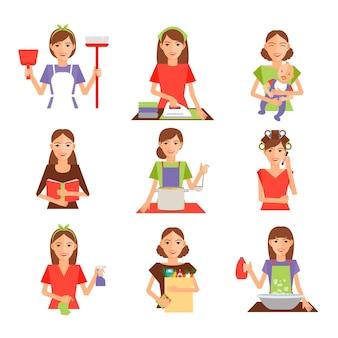Conjunto de dona de casa em estilo simples. dona de casa, limpeza, passar roupa, cozinhar, lavar e fazer compras.