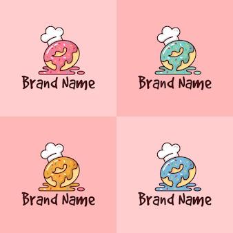 Conjunto de donut colorido com modelo de logotipo de chapéu de chef para empresa de padaria em fundo rosa