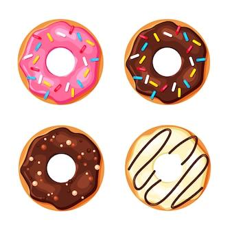 Conjunto de donut colorido dos desenhos animados, isolado no fundo branco. vista superior rosquinhas de açúcar doce. ilustração em estilo moderno simples.