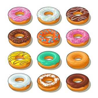 Conjunto de donut com cobertura diferente, esmalte, listras, granulado.