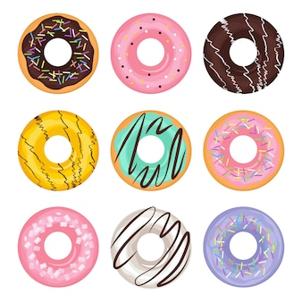 Conjunto de donut de cor diferente de desenho animado em estilo simples. sobremesa tradicional americana. ilustração, isolado no fundo branco