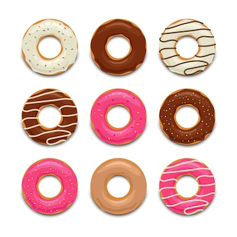 Conjunto de donut saboroso colorido