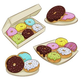 Conjunto de donuts coloridos na cobertura, isolado em um fundo branco. ilustração vetorial no estilo simples dos desenhos animados.