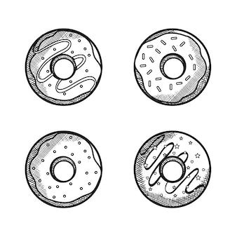 Conjunto de donuts de mão desenhada sobre fundo branco. ilustração vetorial.