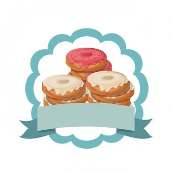 Conjunto de donuts de padaria frescos e deliciosos