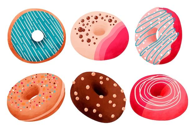 Conjunto de donuts em aquarela pintada à mão