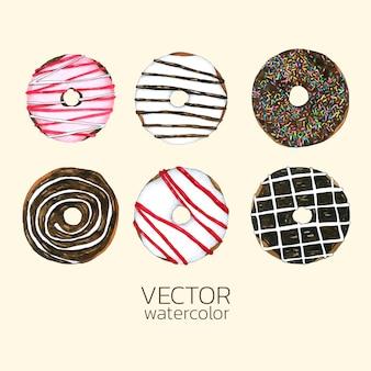 Conjunto de donuts em aquarela.