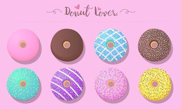 Conjunto de donuts em cor pastel