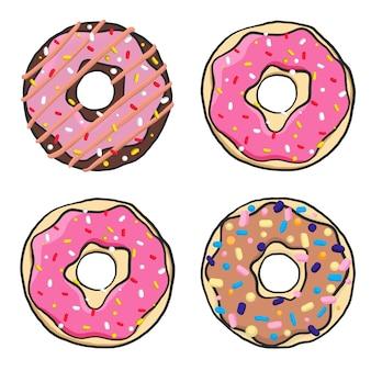 Conjunto de donuts isolado em um fundo branco em um apartamento moderno