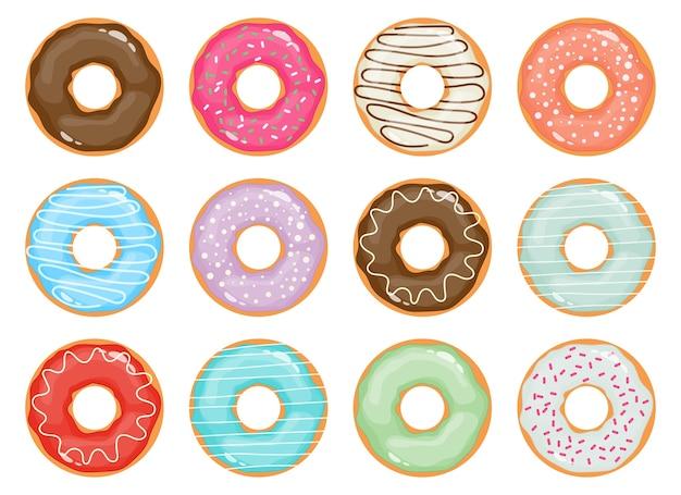 Conjunto de donuts isolado no branco