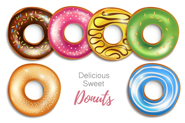 Conjunto de donuts realistas isolado no branco