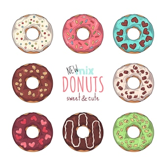 Conjunto de donuts vitrificados decorados com coberturas, chocolate, nozes.