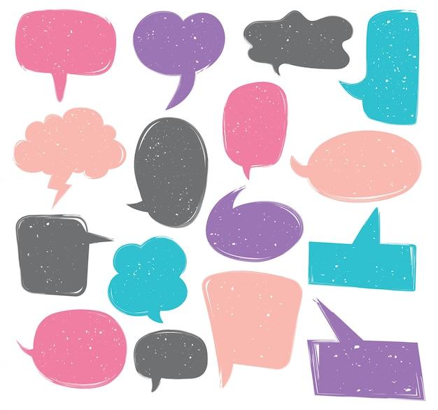 Conjunto de doodle bonito discurso bolha