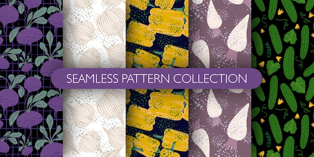 Conjunto de doodle bonito legumes sem costura padrão. coleção de padrões - rabanete, beterraba, pimentão, pepino.