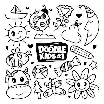 Conjunto de doodle bonito mão desenhada