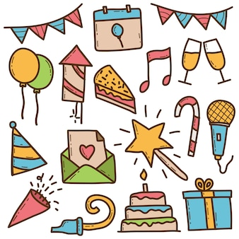 Conjunto de doodle colorido de festa