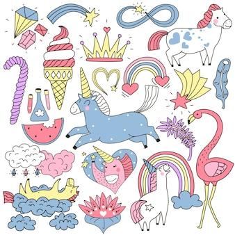 Conjunto de doodle colorido de unicórnio fofo e elementos de fada