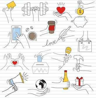 Conjunto de doodle colorido em papel background.doodle mão gesticula elementos