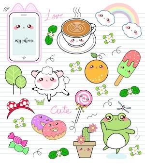 Conjunto de doodle colorido fofo