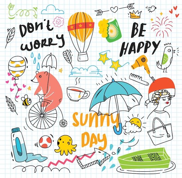 Conjunto de doodle colorido sobre fundo de papel
