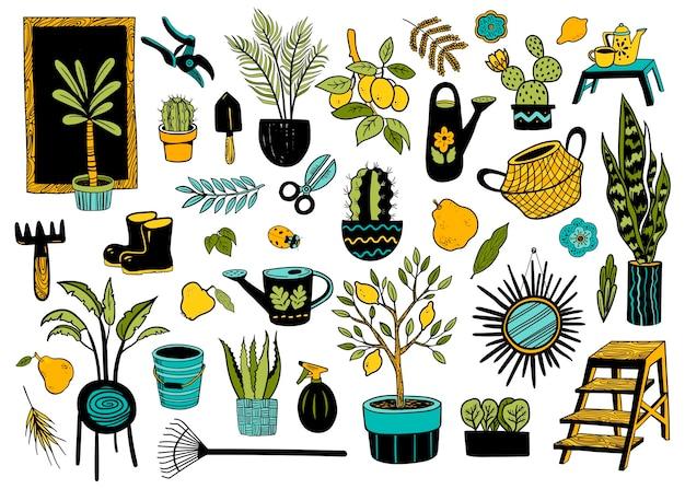 Conjunto de doodle com tema de jardim. ilustração em vetor desenhada à mão